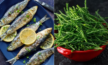 Grilled sardines and samphire.