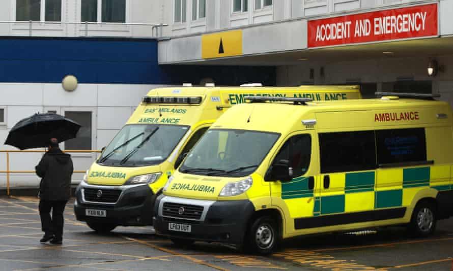 Ambulances outside a hospital