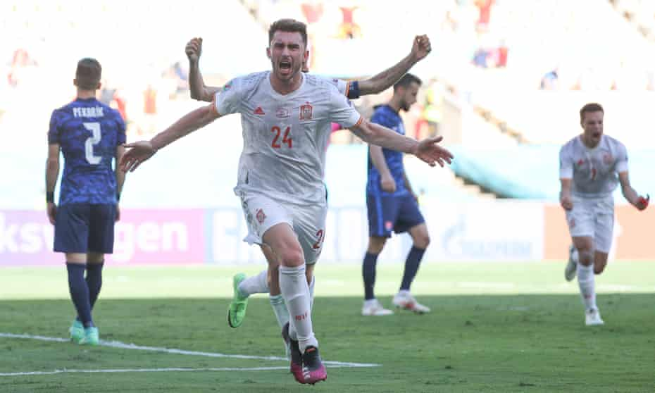 Aymeric Laporte celebrates after scoring for Spain against Slovakia at Euro 2020.