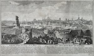 The troops of Philip V enter through the walls of Barcelona in 1714.