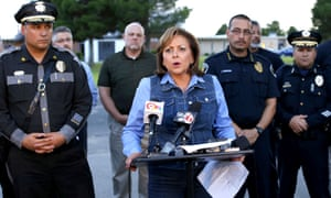 New Mexico governor Susana Martinez speaks to reporters outside the Calvary Baptist Church in Las Cruces, New Mexico in August after an explosion their deemed intended to cause harm.