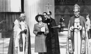 John Habgood, right, during the Queen's visit to York Minster in 1988 to unveil a plaque commemorating the restoration of the south transept and the famous Rose Window.