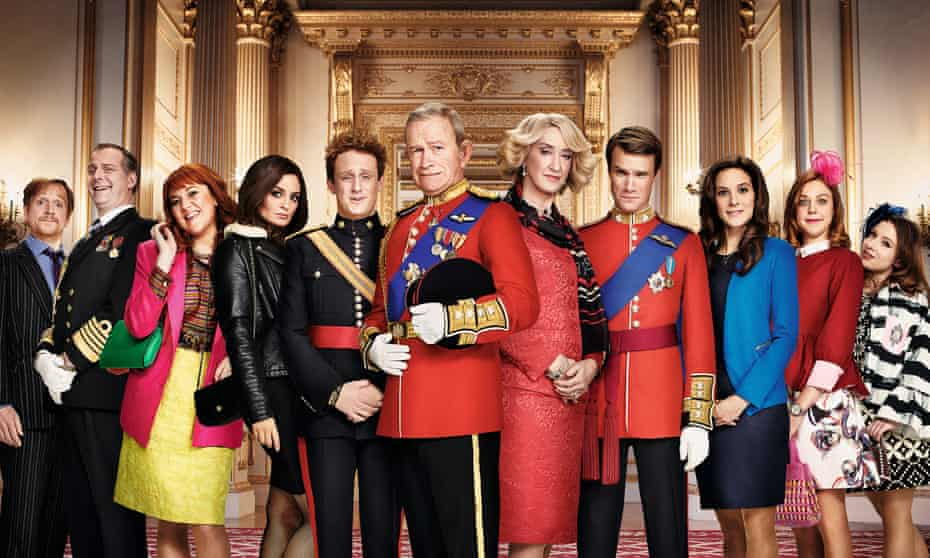 The Windsors: (l-r) Edward, Andrew, Sarah Ferguson, Pippa Middleton, Harry, Charles, Camilla, Wills, Kate, Beatrice and Eugenie.
