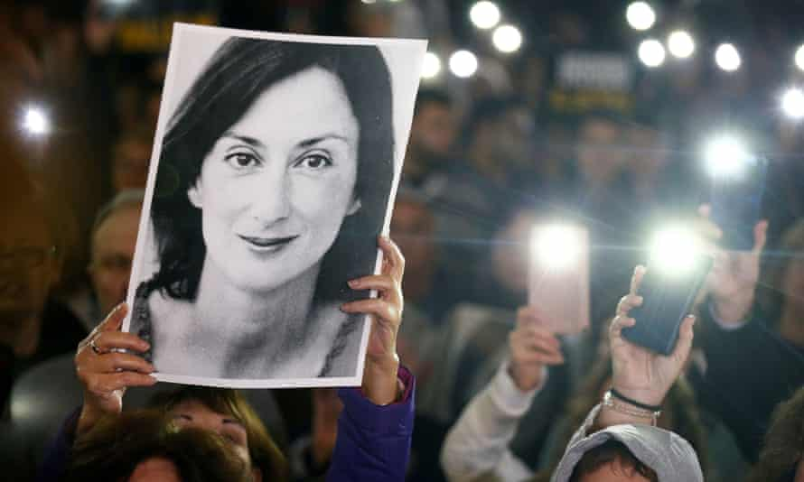 People gather in Valletta to call for the resignation of the prime minister, Joseph Muscat.