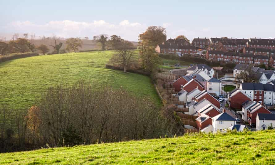 New houses on the site of an old orchard in Crediton, Devon.