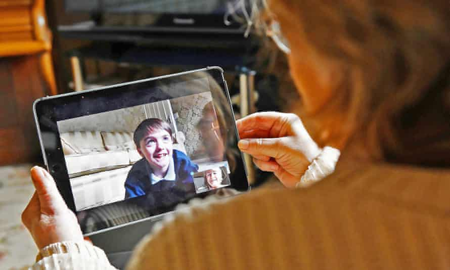 Mary Dunne, 78, from County Louth in Ireland, talks to her grandson Jack, 11, over Zoom