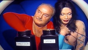 January 2006 George Galloway and Pete Burns in the diary room picking their dance task 'Celebrity big Brother TV programme