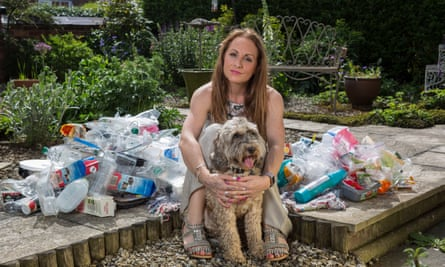 Siobhan McCreadie with piles of plastic waste