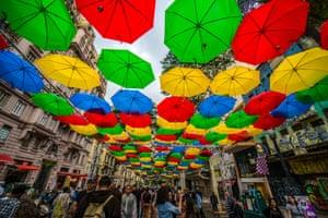 An umbrella art installation in São Paulo, Brazil
