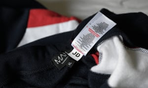 A JD label on the tracksuit bought by the Guardian.
