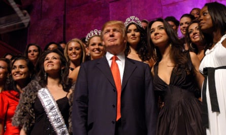 Donald Trump and former Miss Universes and Miss USA Contestants on 18 April 2006 in New York City.