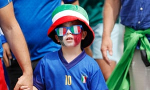 Fans gather in Rome ahead of the match between Italy and Wales.