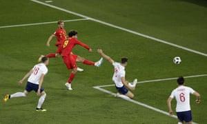 Belgium's Marouane Fellaini shoots against the side netting.