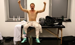 The trophy is relegated to the floor as Rosberg's celebrations continued in the changing room.