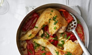 Worthy of a dinner party: pan-roasted chicken legs with peppers.