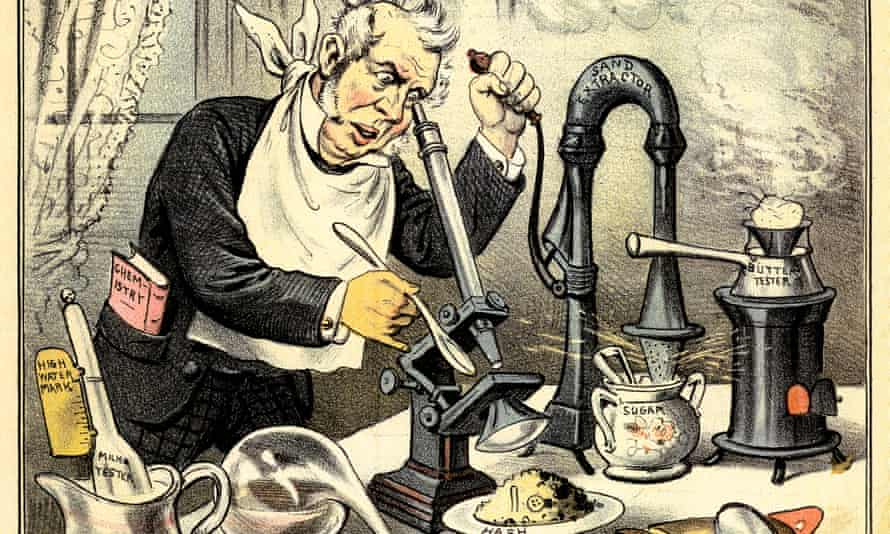 Detail from Look Before You Eat frontispiece for Puck, 12 March 1884, depicting a scientist employing the tools of his trade to precisely pinpoint the contents of frequently adulterated 19th-century foodstuffs.
