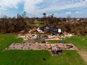 Homes damaged by Hurricane Laura in Grand Lake, Louisiana.
