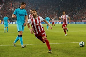 Olympiacos' Mathieu Valbuena celebrates scoring their second goal and getting the home side back on level terms.