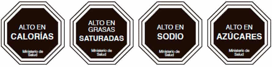 Warning signs on Chilean food packaging inform consumers if a product is high in calories, sugar, salt or saturated fats.