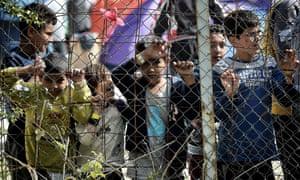 Children at the Moria migrant camp on Lesvos.