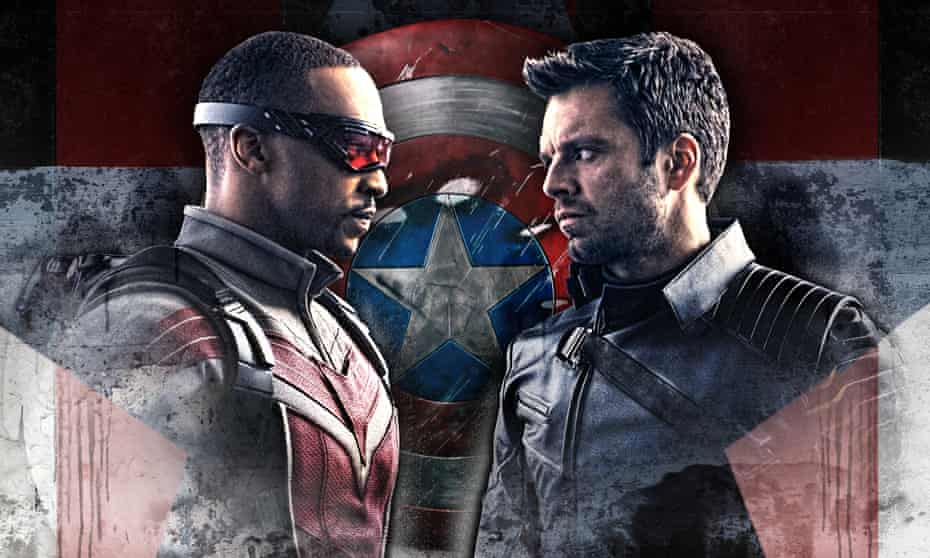 Anthony Mackie (left) as the Falcon, and Sebastian Stan as the Winter Soldier.