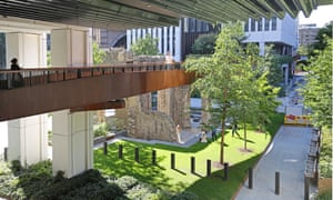 Newly rebuilt Bastion High Walk pedestrian route in the Barbican development in the City of, London, UK