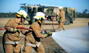 RAAF firefighters at Williamtown airbase in 2011.