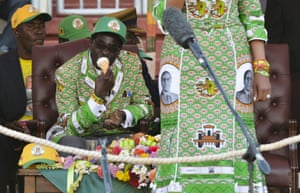 Robert Mugabe during a Zanu-PF rally for the presidential elections in Harare