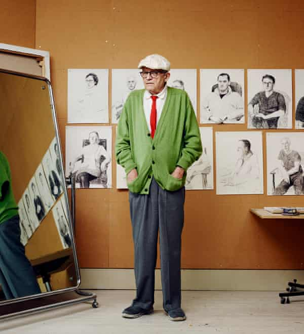 Bright flash: David Hockney at home in London in 2015. He has always favoured bright colours since arriving in the capital as a student in 1959.