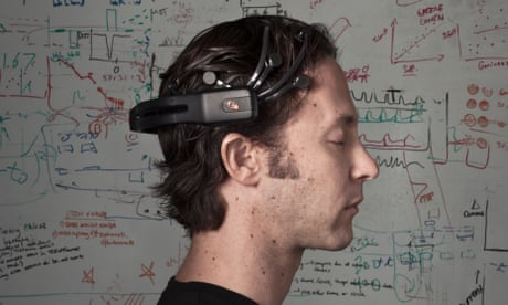 david eagleman in profile in front of diagrams and writing on a whiteboard, houston, texas