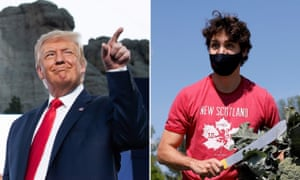 Donald Trump celebrated the Fourth Of July at Mount Rushmore, while Justin Trudeau harvested vegetables on Canada's national holiday.