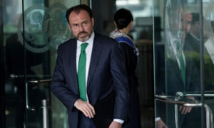 Mexico's foreign minister, Luis Videgaray, leaves the US Department of State after a meeting on 8 February in Washington.