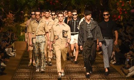 Models on the catwalk for Dolce & Gabbana's spring/summer 2020 show, part of Milan fashion week men's.