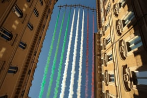 Rome, Italy The Italian Air Force acrobatic unit Frecce Tricolori perform over Rome as part of the Republic Day ceremonies