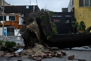 A storm-damaged street