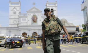 Sri Lankan army soldiers secure the area around St Anthony's Shrine in Colombo