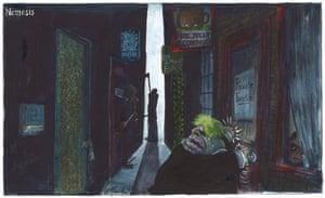 Martin Rowson cartoon, 17/10/20: Boris Johnson frantically bangs on the door of the Jolly Economist pub