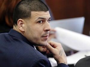 Aaron Hernandez listens during his double murder trial in Suffolk Superior Court, in Boston, 2017