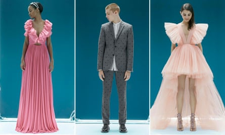 Models wear items from the Giambattista Valli x H&M collection