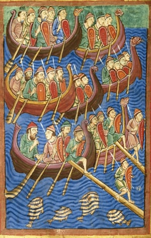 This 12th-century illustration of Viking ships arriving in Britain was used for the cover of Peter Sawyer's The Oxford Illustrated History of the Vikings, 2001.