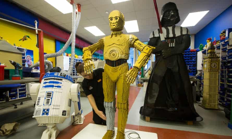 C3PO, R2D2 and Darth Vader Star Wars Lego figures at the Legoland workshop, in Windsor