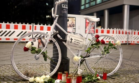 A Berlin 'ghost bike' installed as a memorial to a 37-year-old woman killed in February 2019.