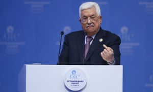 Mahmoud Abbas delivers a speech during an extraordinary meeting of the Organisation of Islamic Cooperation in Istanbul