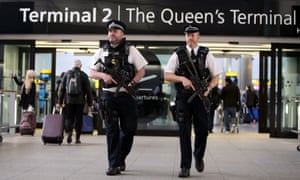 Armed police patrol at Heathrow airport