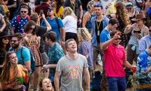 Festivalgoers at the Shangri-La area of Glastonbury.