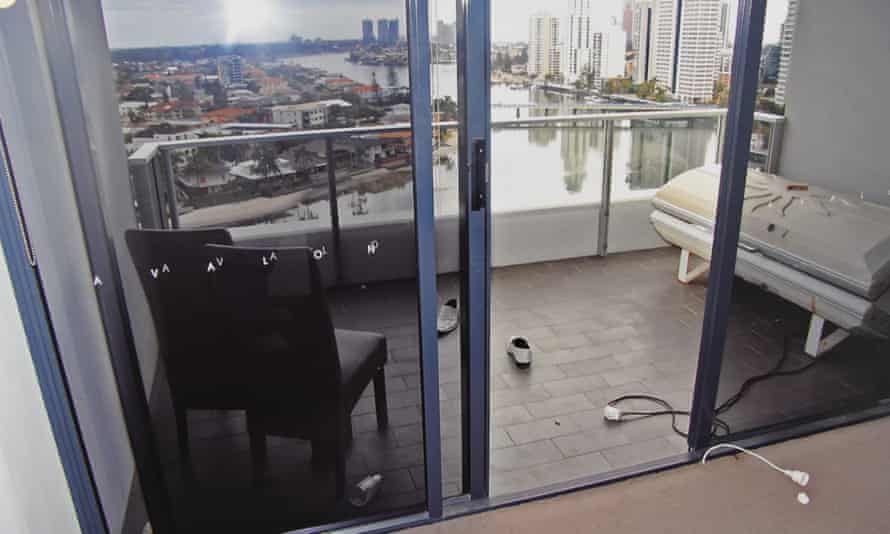 The balcony of Gable Tostee's 14th floor Surfers Paradise apartment.