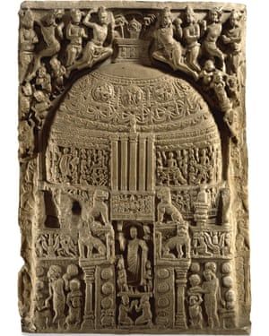 British Museum display includes a limestone slab carved 2,000 years ago for a Buddhist shrine.