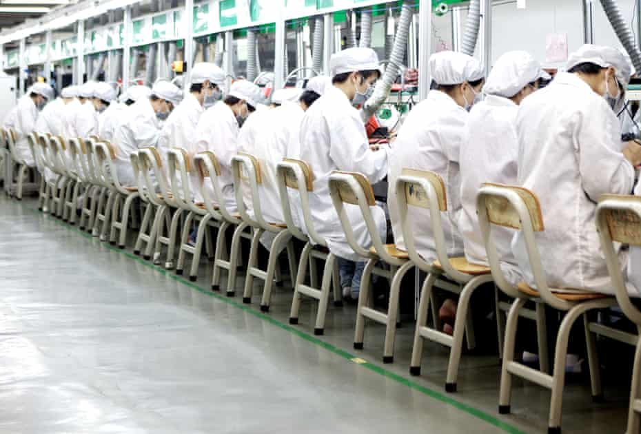 an assembly bench at foxconn longhua plant where iphones are made