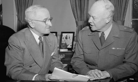 Republican Dwight Eisenhower, right, maintained and built on much of his Democratic predecessor's approach.