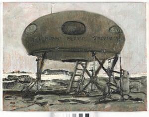 Berchevaise Hut - Mawson, 24/11/2013, oil on canvas board 30.5 x 30.5 cm.
